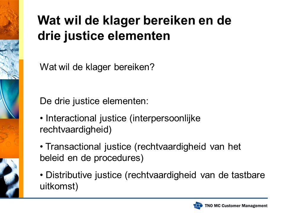Wat wil de klager bereiken en de drie justice elementen