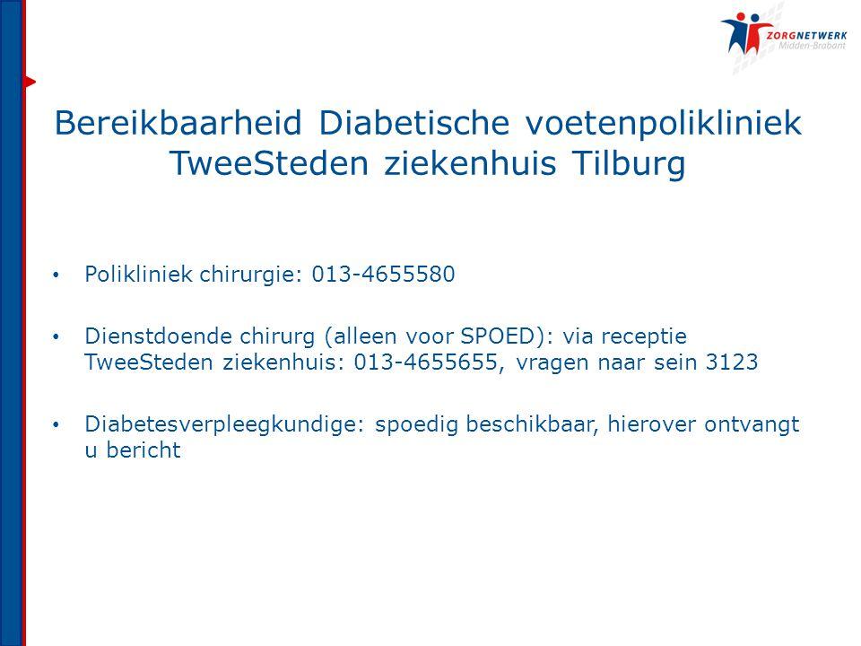Bereikbaarheid Diabetische voetenpolikliniek TweeSteden ziekenhuis Tilburg