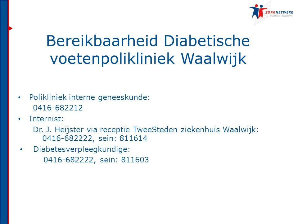 Bereikbaarheid Diabetische voetenpolikliniek Waalwijk