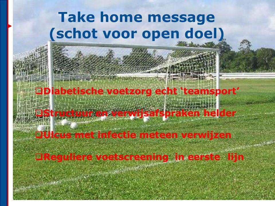 Take home message (schot voor open doel)
