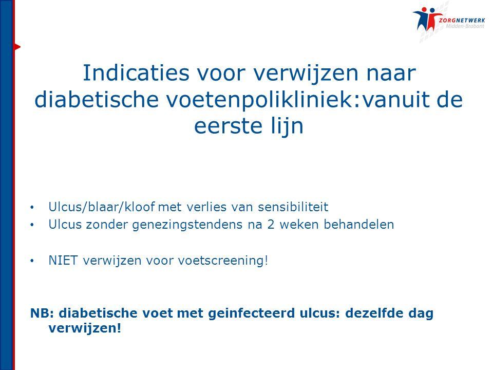 Indicaties voor verwijzen naar diabetische voetenpolikliniek:vanuit de eerste lijn