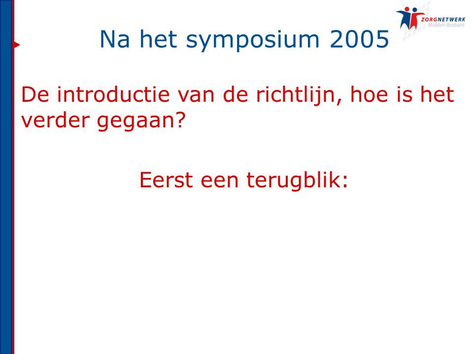 Na het symposium 2005 De introductie van de richtlijn, hoe is het verder gegaan.