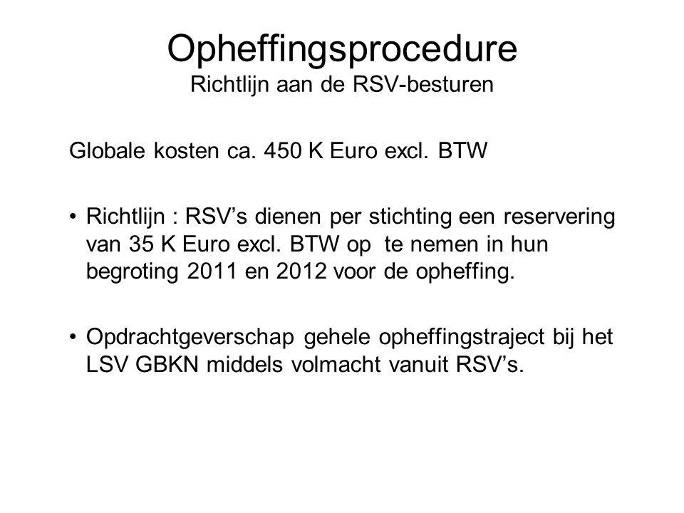 Opheffingsprocedure Richtlijn aan de RSV-besturen