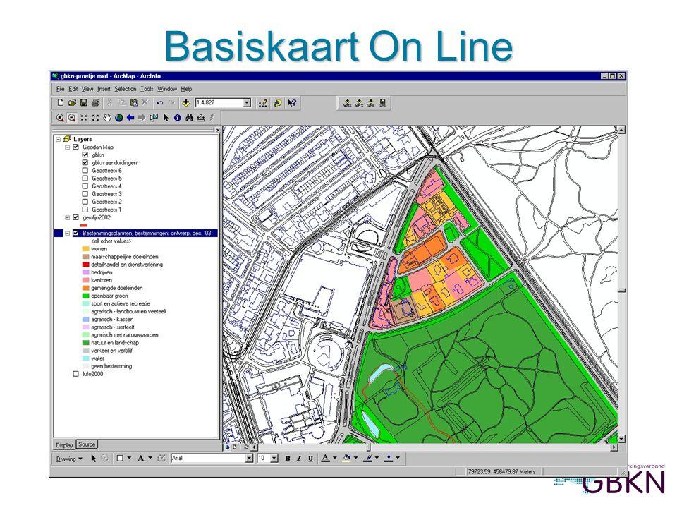 Basiskaart On Line Afbeelding 2: Basiskaart On Line met bestemmingen, in ArcMap (prov.