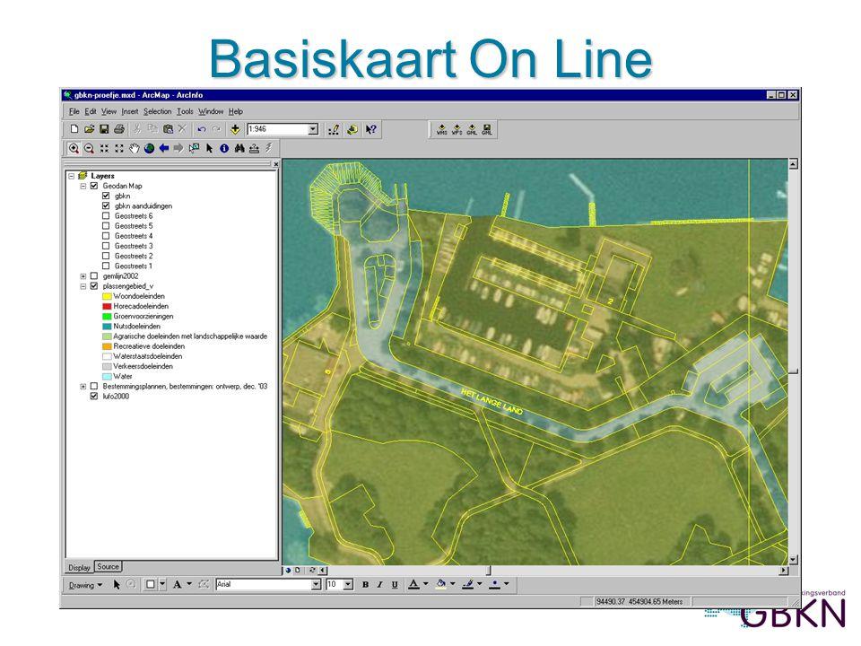 Basiskaart On Line Afbeelding 3: Basiskaart On Line met luchtfoto en bestemmingen, in ArcMap (prov.