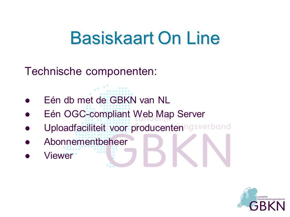 Basiskaart On Line Technische componenten: Eén db met de GBKN van NL