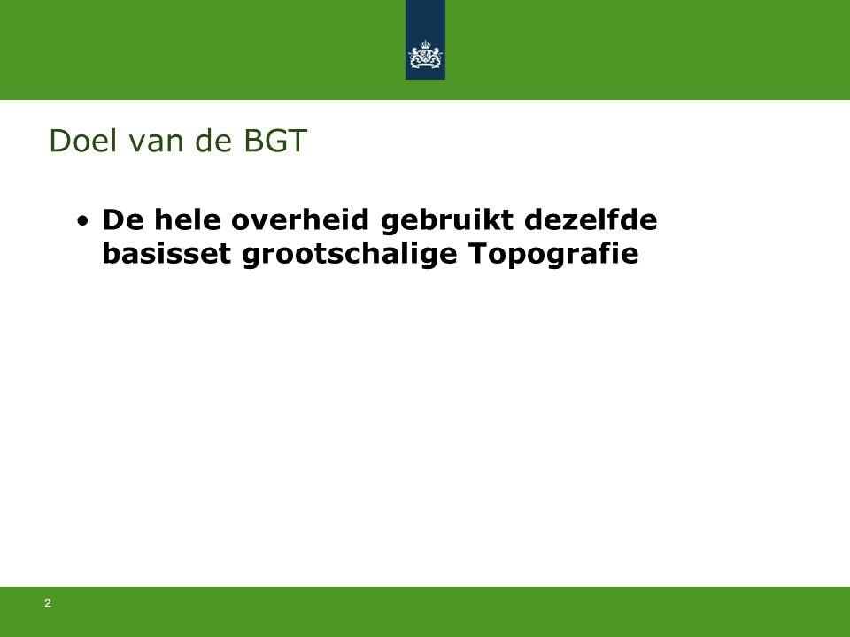 Doel van de BGT De hele overheid gebruikt dezelfde basisset grootschalige Topografie