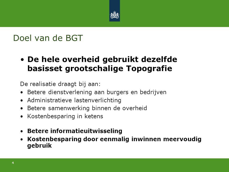 Doel van de BGT De hele overheid gebruikt dezelfde basisset grootschalige Topografie. De realisatie draagt bij aan: