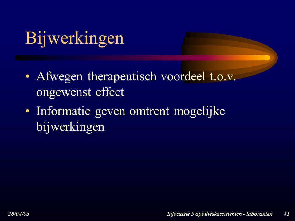 Bijwerkingen Afwegen therapeutisch voordeel t.o.v. ongewenst effect