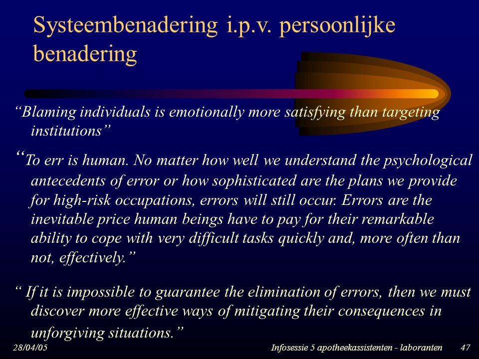 Systeembenadering i.p.v. persoonlijke benadering