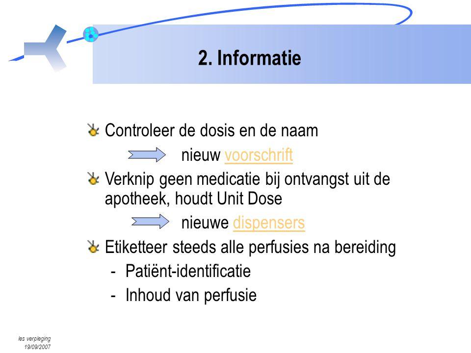 2. Informatie Controleer de dosis en de naam nieuw voorschrift