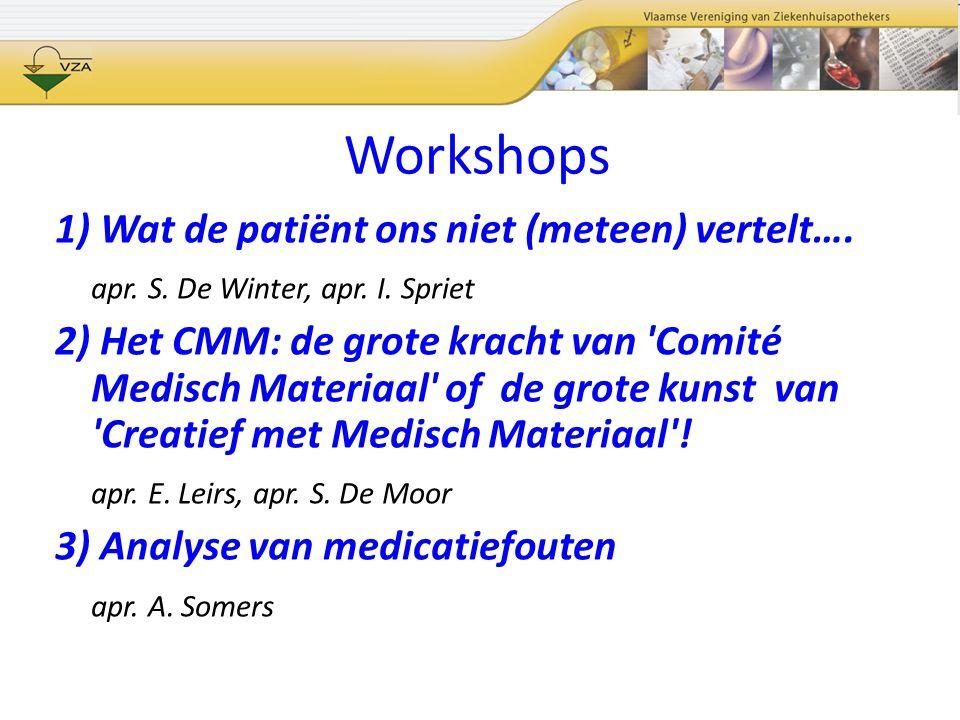 Workshops 1) Wat de patiënt ons niet (meteen) vertelt….