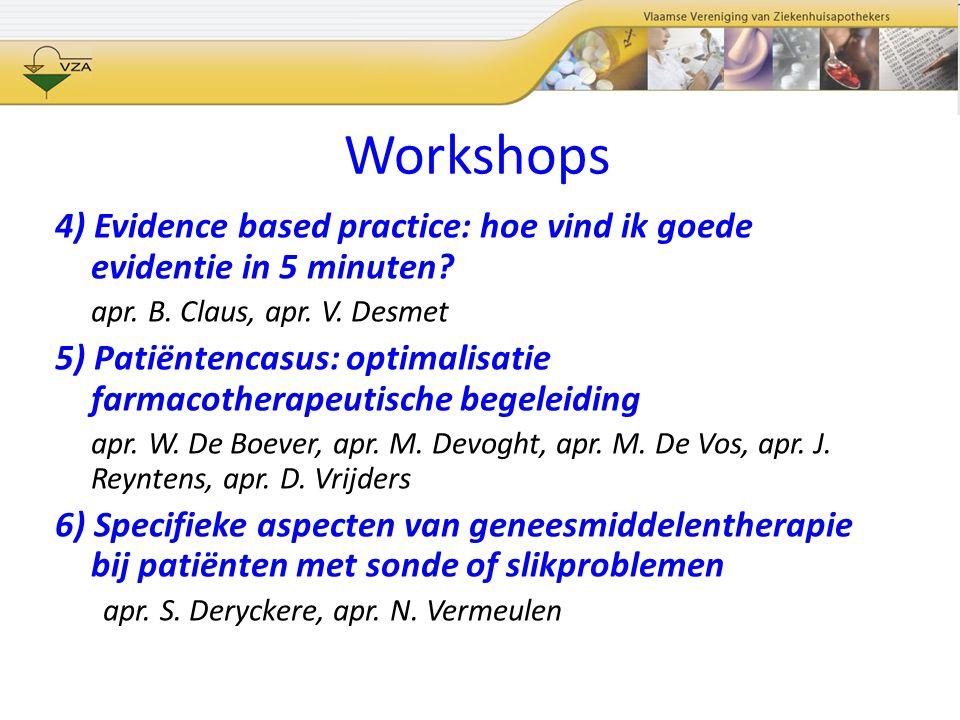 Workshops 4) Evidence based practice: hoe vind ik goede evidentie in 5 minuten apr. B. Claus, apr. V. Desmet.