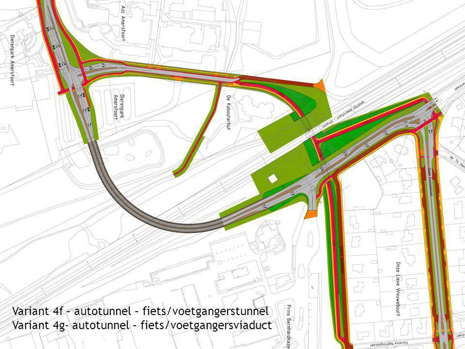 Variant 4f – autotunnel – fiets/voetgangerstunnel