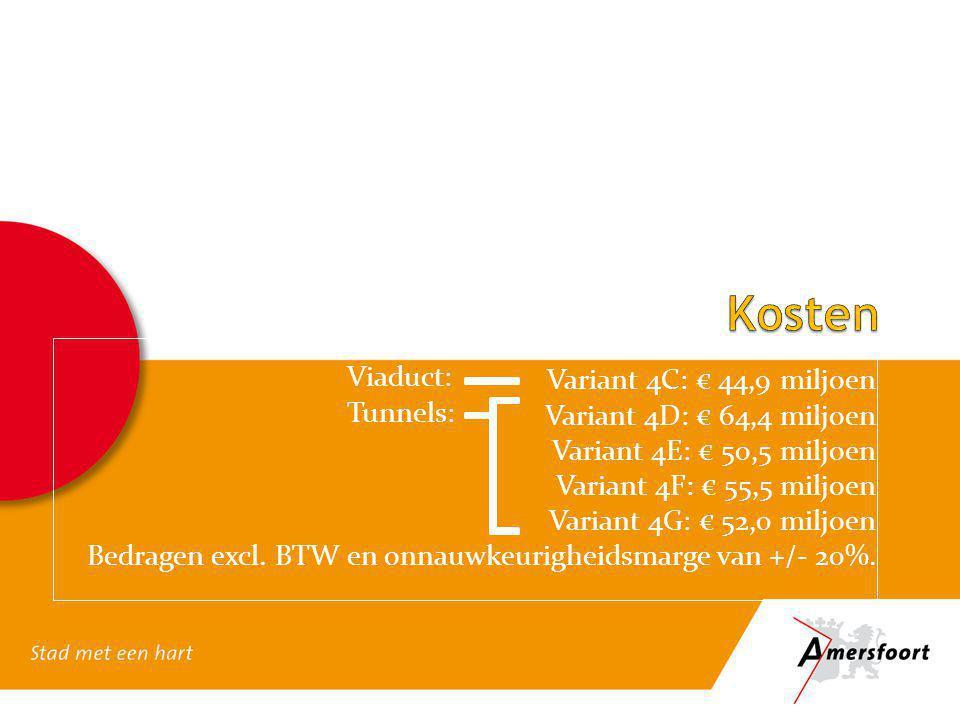 Kosten Variant 4C: € 44,9 miljoen Viaduct: Variant 4D: € 64,4 miljoen