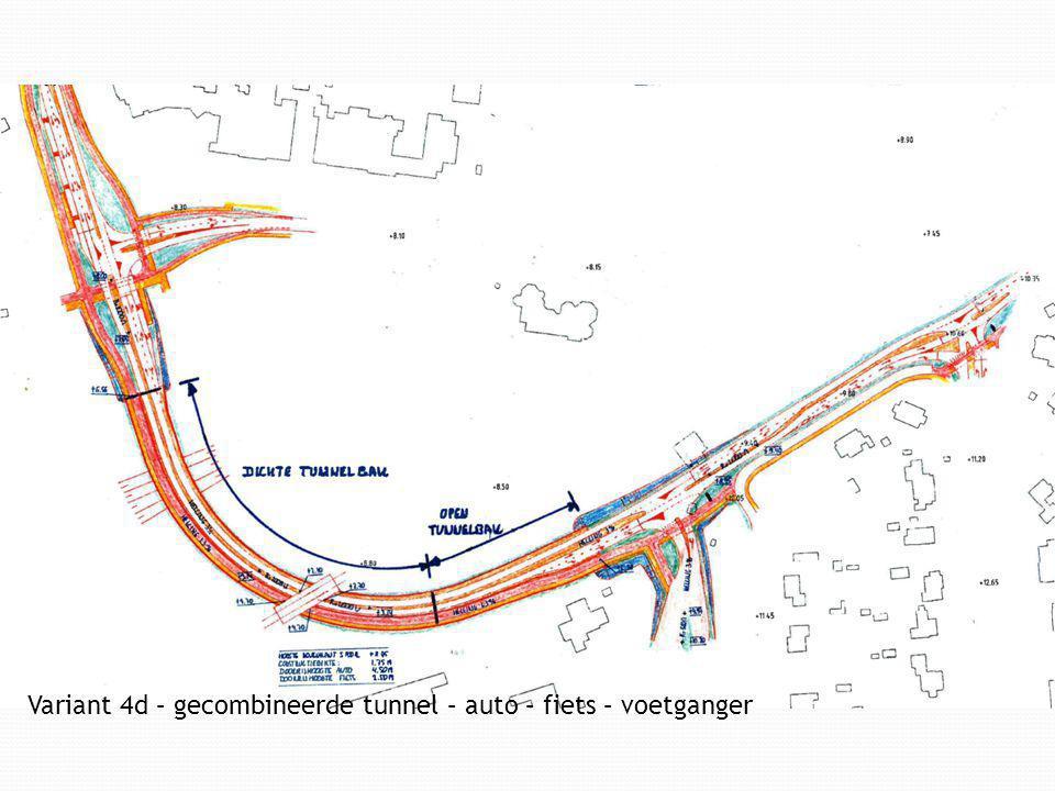 Variant 4d – gecombineerde tunnel – auto – fiets – voetganger
