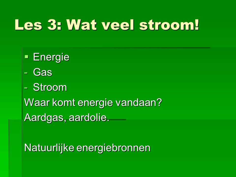 Les 3: Wat veel stroom! Energie Gas Stroom Waar komt energie vandaan