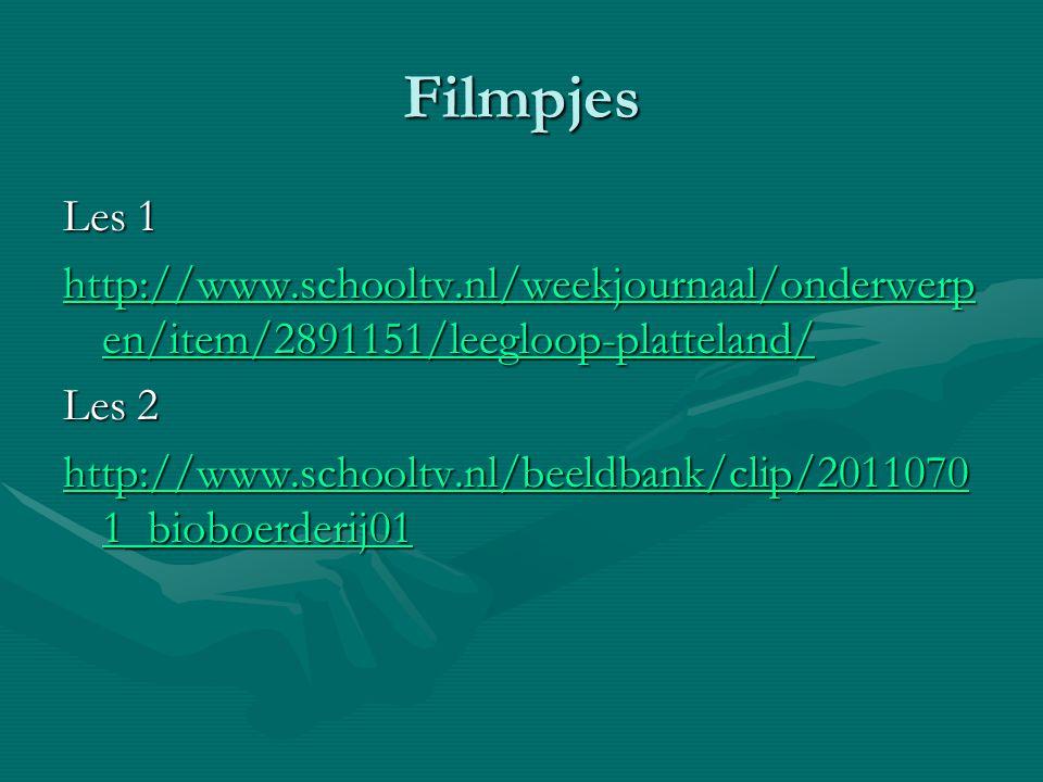 Filmpjes Les 1. http://www.schooltv.nl/weekjournaal/onderwerpen/item/2891151/leegloop-platteland/ Les 2.