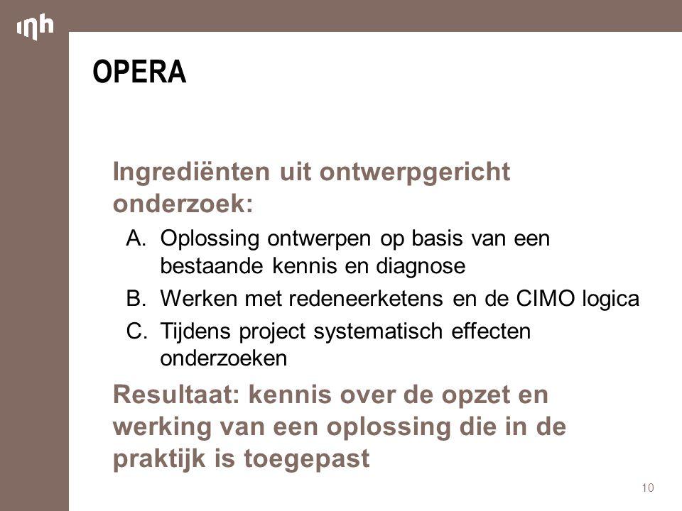 OPERA Ingrediënten uit ontwerpgericht onderzoek: