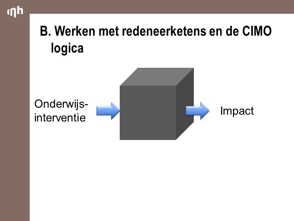 B. Werken met redeneerketens en de CIMO logica