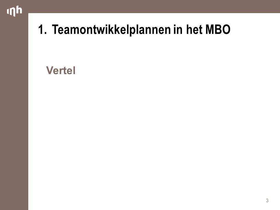 1. Teamontwikkelplannen in het MBO