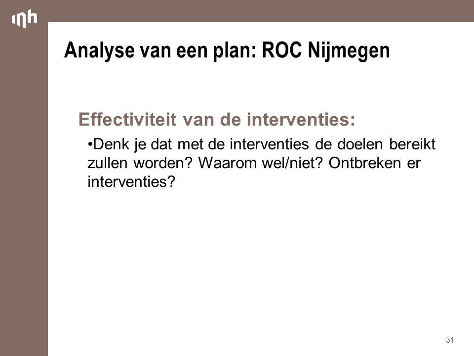 Analyse van een plan: ROC Nijmegen
