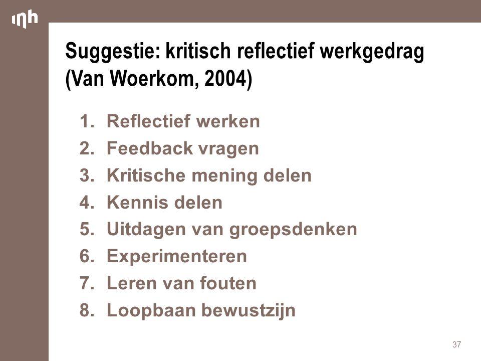 Suggestie: kritisch reflectief werkgedrag (Van Woerkom, 2004)