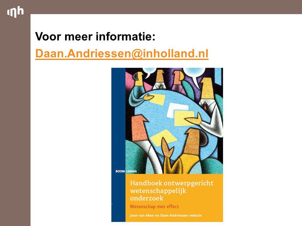 Voor meer informatie: Daan.Andriessen@inholland.nl