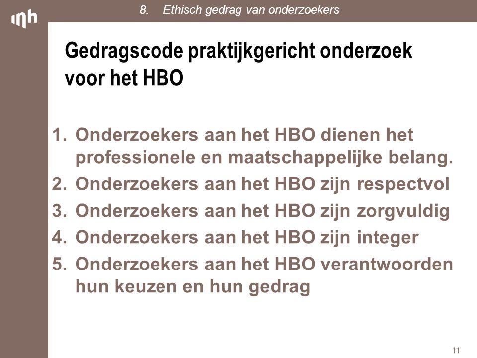 Gedragscode praktijkgericht onderzoek voor het HBO