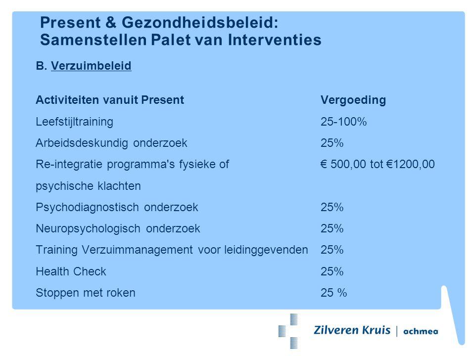 Present & Gezondheidsbeleid: Samenstellen Palet van Interventies