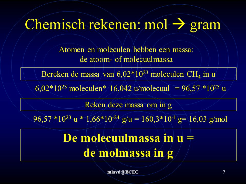Chemisch rekenen: mol  gram