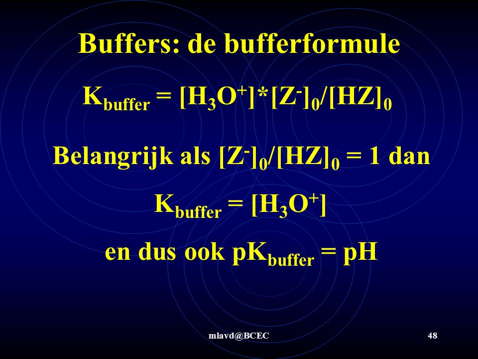 Buffers: de bufferformule