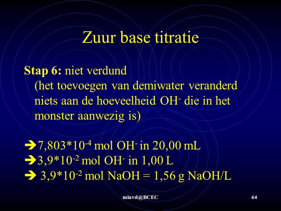 Zuur base titratie Stap 6: niet verdund (het toevoegen van demiwater veranderd niets aan de hoeveelheid OH- die in het monster aanwezig is)