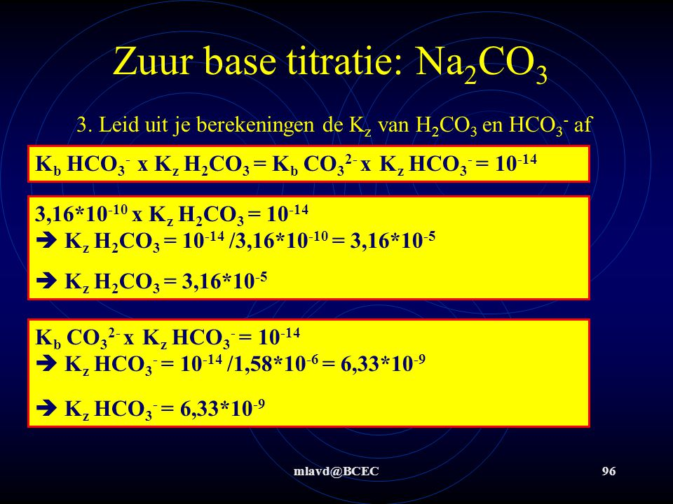 Zuur base titratie: Na2CO3