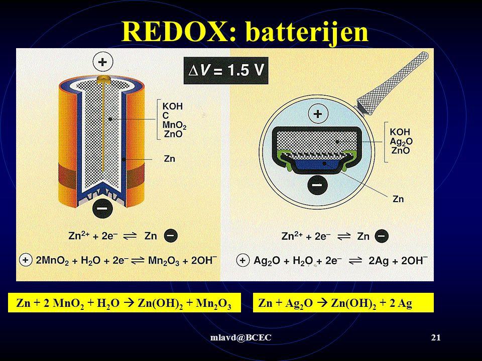 REDOX: batterijen Zn + 2 MnO2 + H2O  Zn(OH)2 + Mn2O3