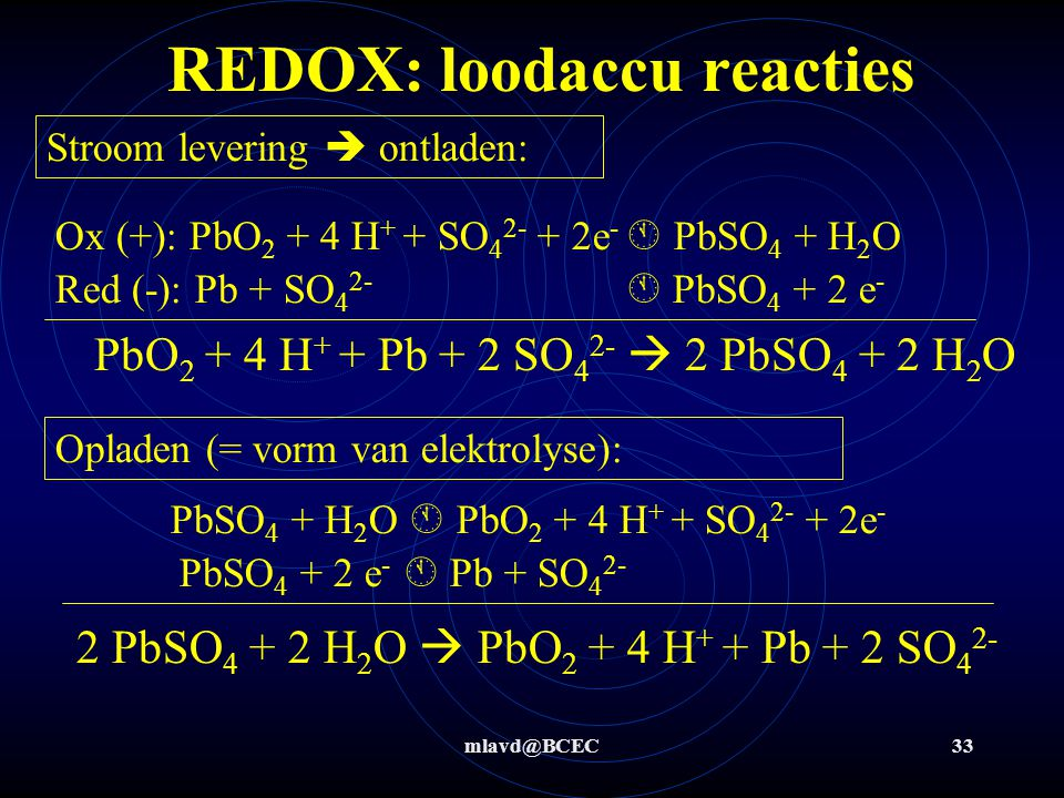 REDOX: loodaccu reacties