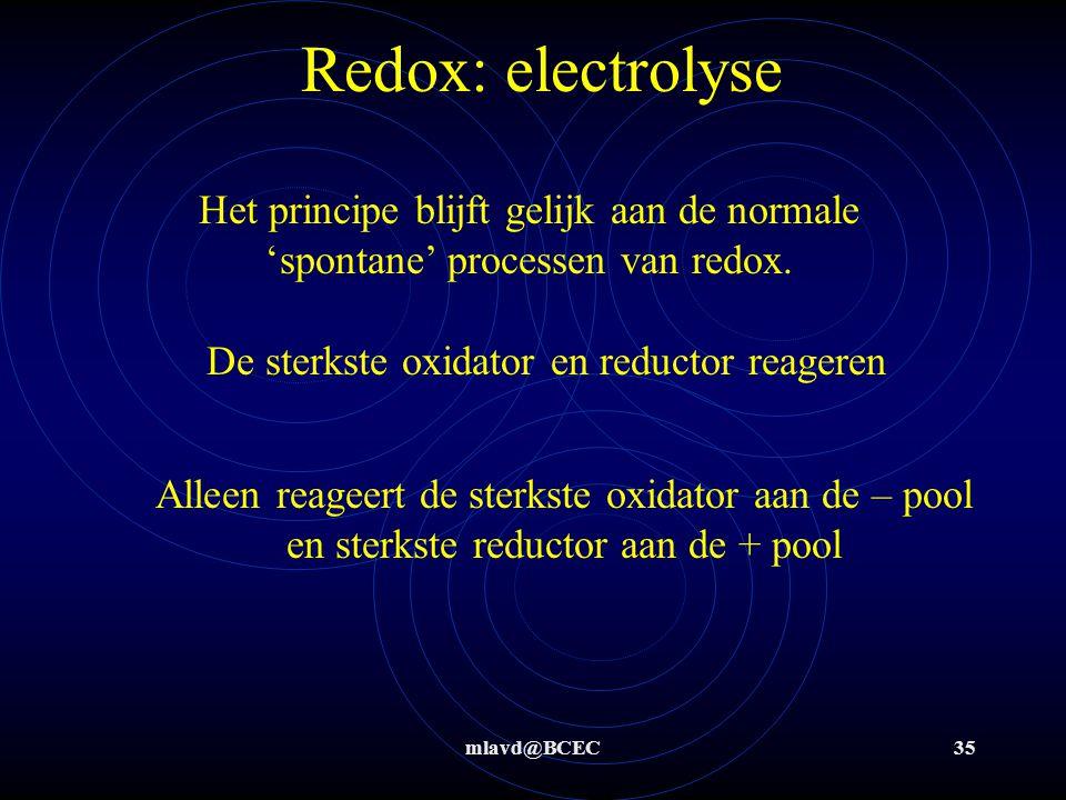 De sterkste oxidator en reductor reageren