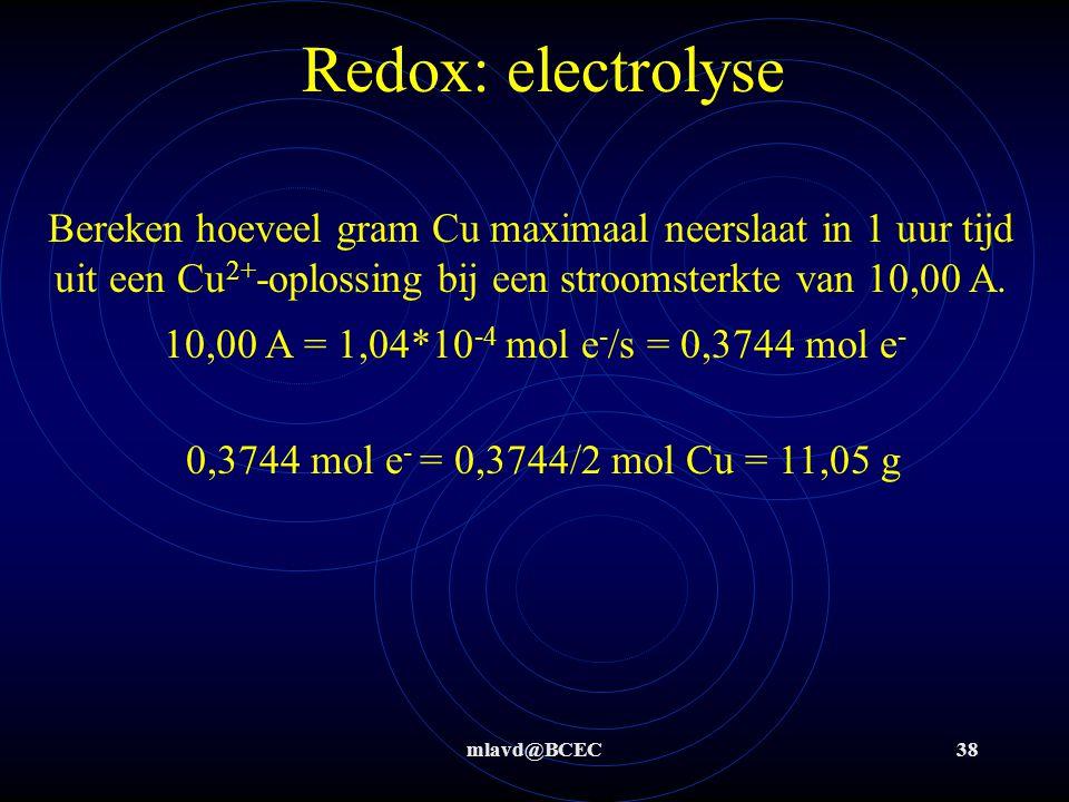 Redox: electrolyse Bereken hoeveel gram Cu maximaal neerslaat in 1 uur tijd uit een Cu2+-oplossing bij een stroomsterkte van 10,00 A.