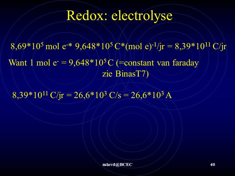 Redox: electrolyse 8,69*105 mol e-* 9,648*105 C*(mol e)-1/jr = 8,39*1011 C/jr. Want 1 mol e- = 9,648*105 C (=constant van faraday zie BinasT7)