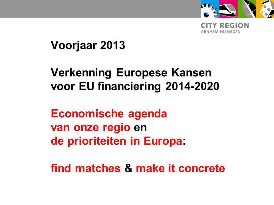 Voorjaar 2013 Verkenning Europese Kansen voor EU financiering 2014-2020 Economische agenda van onze regio en de prioriteiten in Europa: find matches & make it concrete