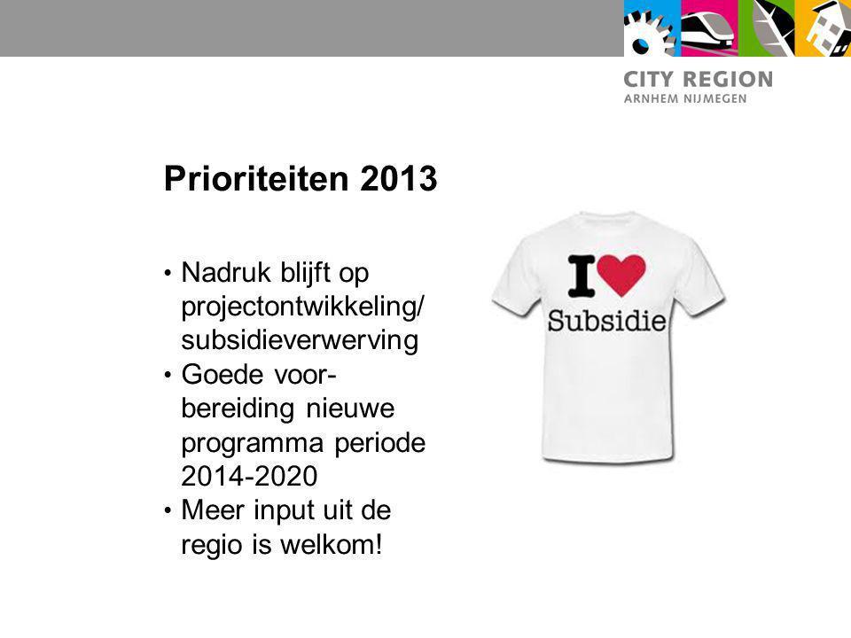 Prioriteiten 2013 Nadruk blijft op projectontwikkeling/subsidieverwerving. Goede voor-bereiding nieuwe programma periode 2014-2020.
