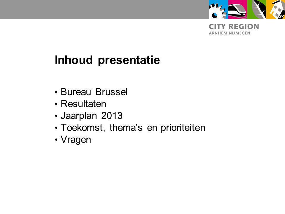 Inhoud presentatie Bureau Brussel Resultaten Jaarplan 2013