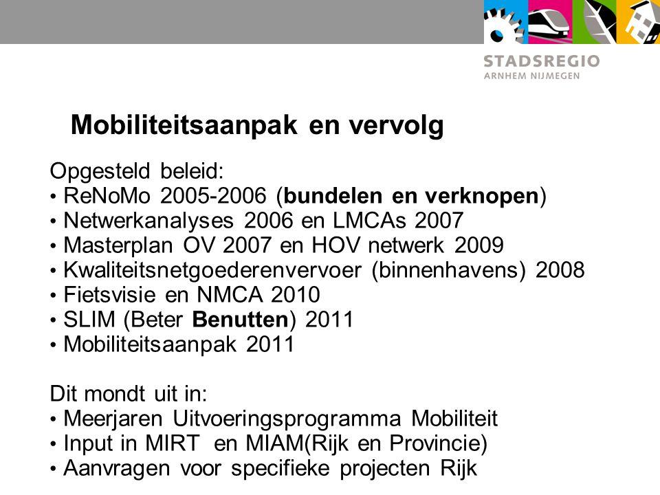 Mobiliteitsaanpak en vervolg