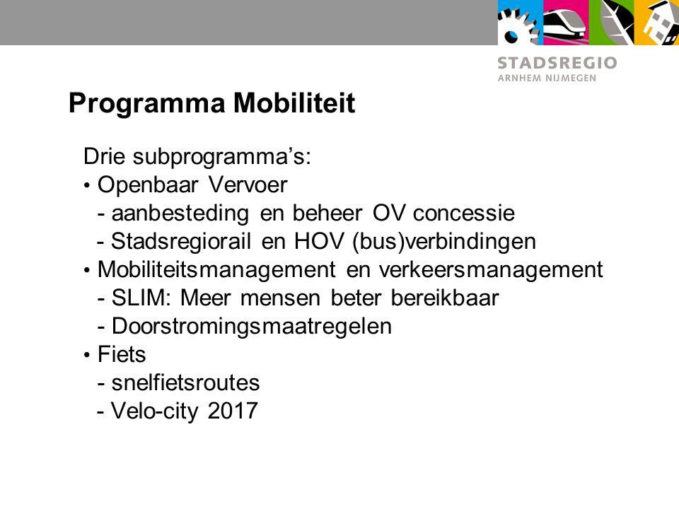Programma Mobiliteit Drie subprogramma's: