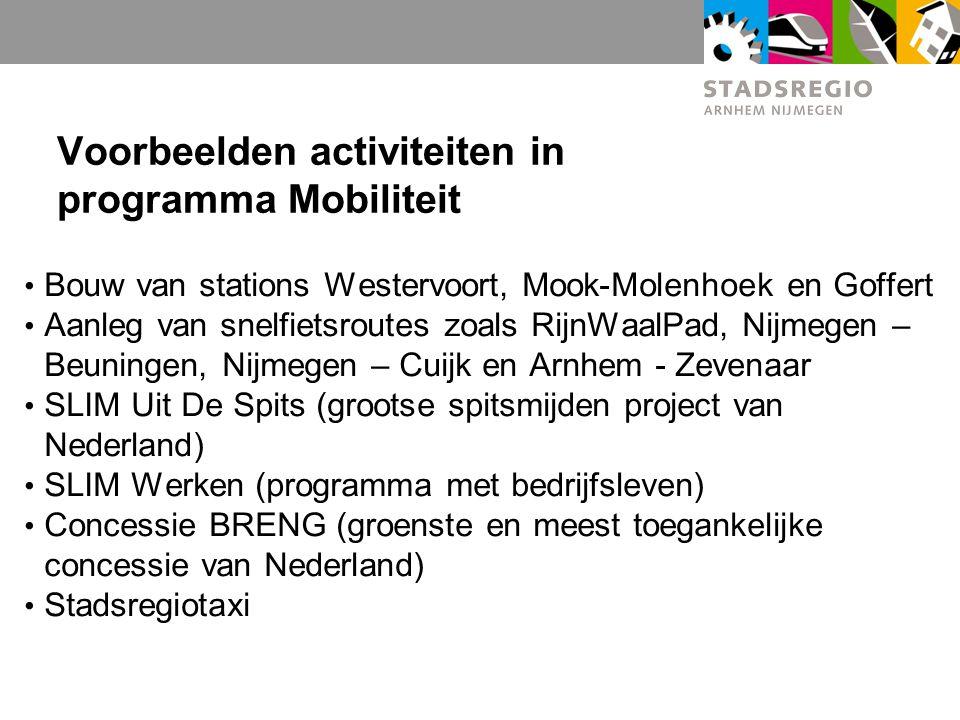 Voorbeelden activiteiten in programma Mobiliteit
