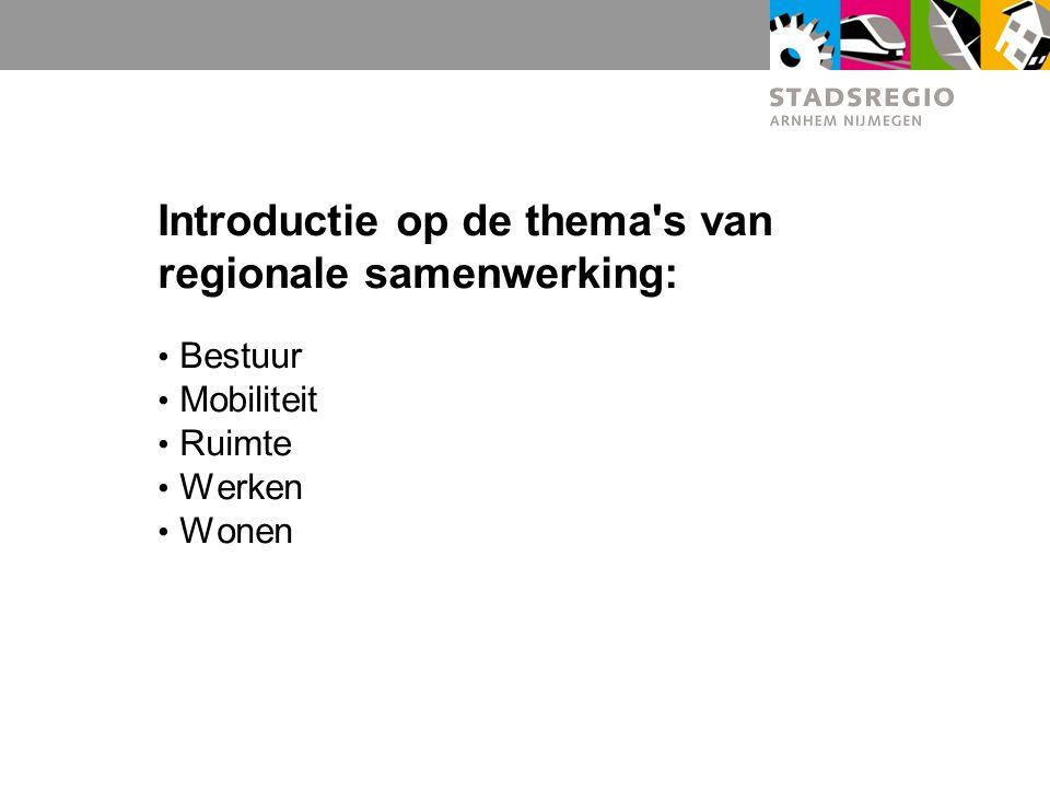 Introductie op de thema s van regionale samenwerking: