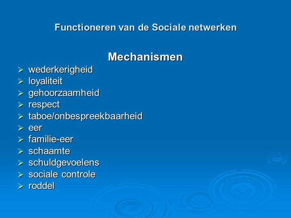 Functioneren van de Sociale netwerken