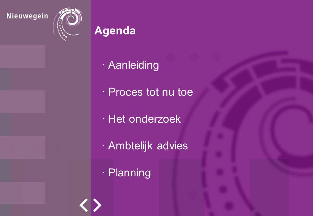 Agenda Aanleiding Proces tot nu toe Het onderzoek Ambtelijk advies Planning