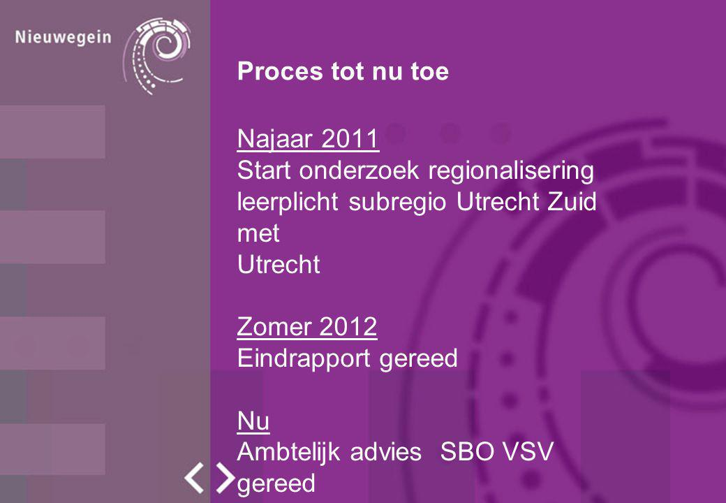 Proces tot nu toe Najaar 2011. Start onderzoek regionalisering. leerplicht subregio Utrecht Zuid met.