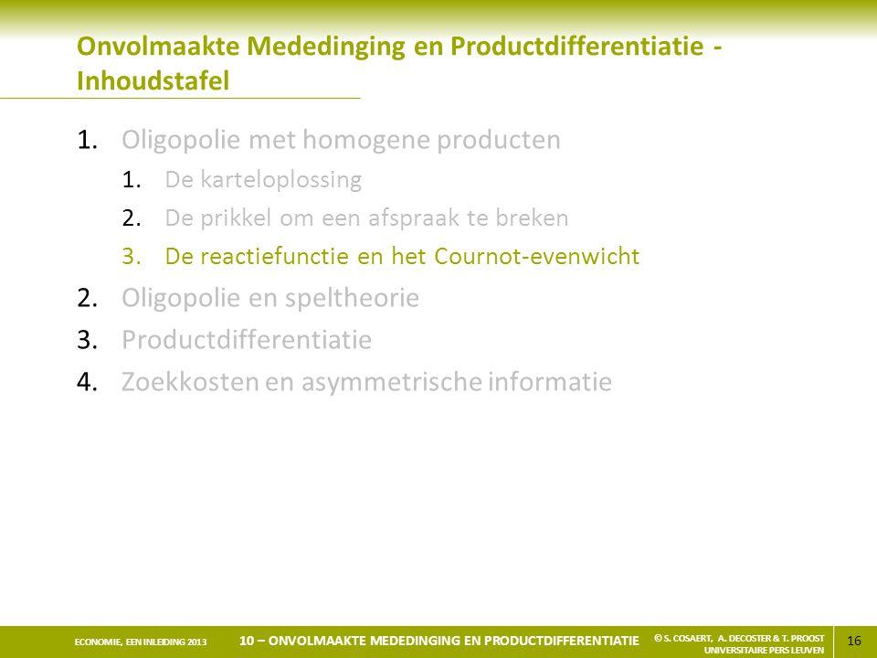 Onvolmaakte Mededinging en Productdifferentiatie - Inhoudstafel
